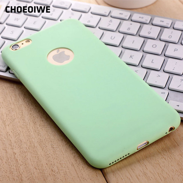 outlet store 7dc96 d9c24 CHOEOIWE i6 6S Ultra Thin Soft Silicone Case for iPhone 6 6s Plus 6sPlus  Cute Candy Mint Pink Color Back Cases Cover Shell