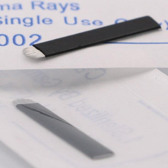 500 pièces Noir Microblading Aiguilles 0.18mm U Forme 18 broches Lames Professionnel Permanent Microblading Broderie Stylo Évalué