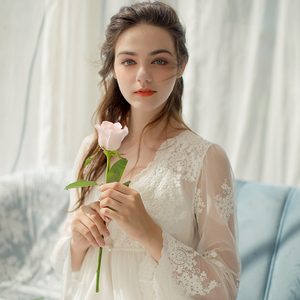 Image 3 - Lace Robe Long Robe Lady White Lace Embroidery Robe and Slip Two Pieces For Women Robe Sleepwear Bride