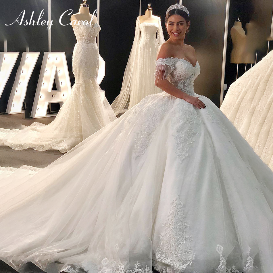 Ashley Carol Sexy Sweetheart Royal Train Ball Gown Wedding Dress 2019 Luxury Beaded Cap Sleeve Lace Up Princess Wedding Gowns
