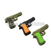 Лучшие Бесплатная доставка мальчик ластик пистолет дизайн ластик маленький пистолет ластик военное оружие ластик набор для армии поклонников коллекции