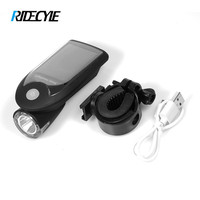 RIDECYLE LED USB Rechargeable Bike Light Headlight Solar Energy Bicycle Front Light Waterproof With 360 Degree