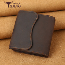 Tiding Brand Luxury Genuine Crazy Horse Leather Men Wallet Vintage Cowhide Leather Short Wallet Purse Card Holder 2016 New