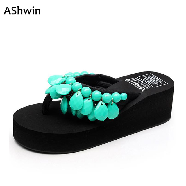 2635b5d00 Contas das mulheres verão flip flops moda artesanal cunhas sapatos de  plataforma sapatos doces borlas étnicos
