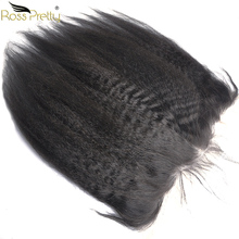 Ross Pretty Remy Brazilian Hair Kinky Straight Lace Frontal Natural Human lace Front 13x4 Baby and Pre Plucked