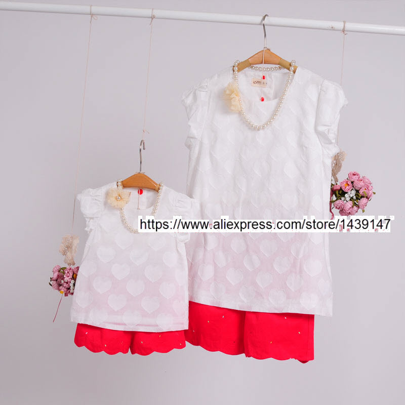 Children clothing Mother & Daughter cotton Heart shirt and shorts , 2-10 years old Child Girl clothes, Women plus Large size 4XL children clothing mother and daughter dress red printing 2 10 years old child little baby girls clothes women large size 4xl