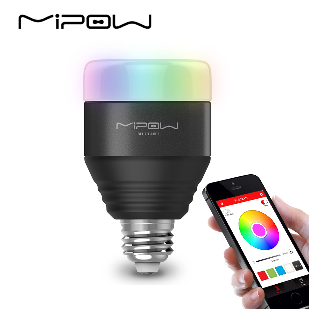 MIPOW Bluetooth Smart LED Light Bulbs APP font b Smartphone b font Group Controlled Dimmable Color