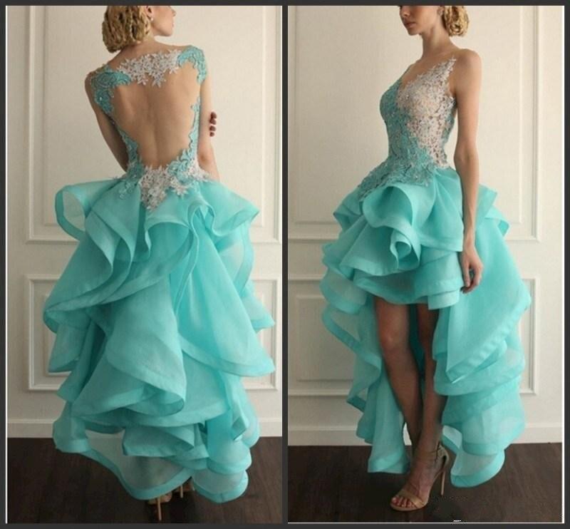 2017 Neue Design Heißer Verkauf High Low V-ausschnitt Knöchellangen Organza Formale Kleider Vestido De Festa Homecoming Kleider GroßEs Sortiment