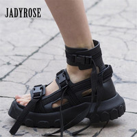 Jady Rose High Tops Summer Sandals Women Platform Creepers 6CM Heel Wedge Shoes Woman Ankle Strap Sandalias Mujer Sneakers