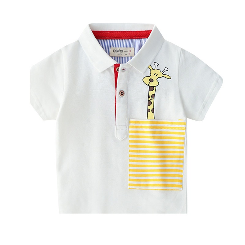 Outfits-Clothes Polo-Shirt Short-Sleeve Tops Animals Baby Boys Kids Cartoon Summer Giraffe