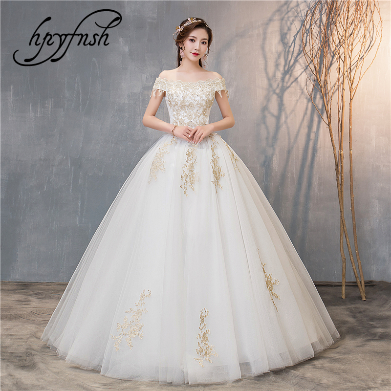 Fashion New Arrival Wedding Dress Gold Lace Embroidery Boat Neck Off The Shoulder Ball Gowns Princess Brides Custom Plue Size 72