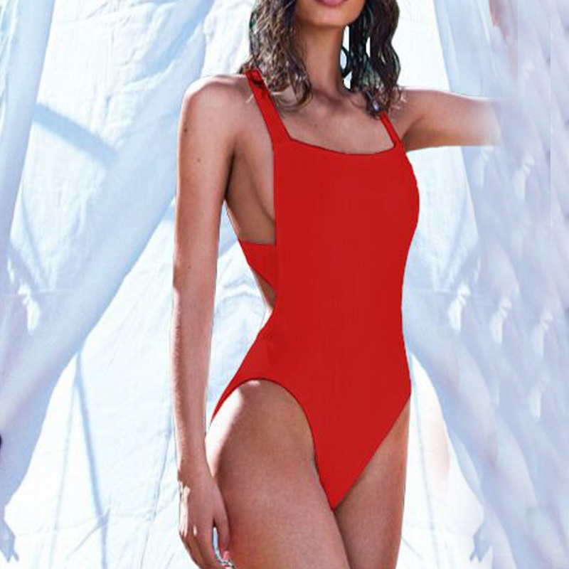 2017 New One Piece Swimsuit Women Sexy Backless Swimwear Monokini Bodysuit Bather Beach Swim Wear Bathing Suit Maillot de Bain women solid one piece swimsuit halter backless bandage bodysuit monokini deep v neck sexy high waist vintage beach wear
