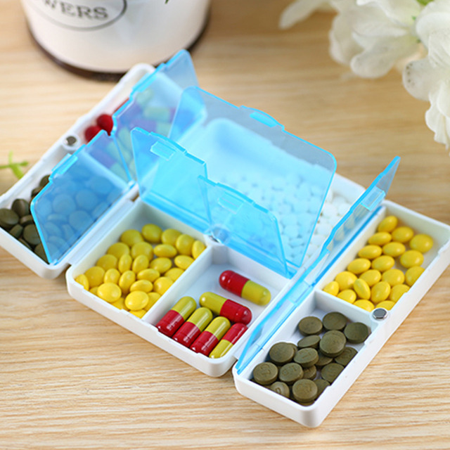 7 Days/Week Holder Pill Box Medicine Case Mini Plastic Foldable Cary On Pill