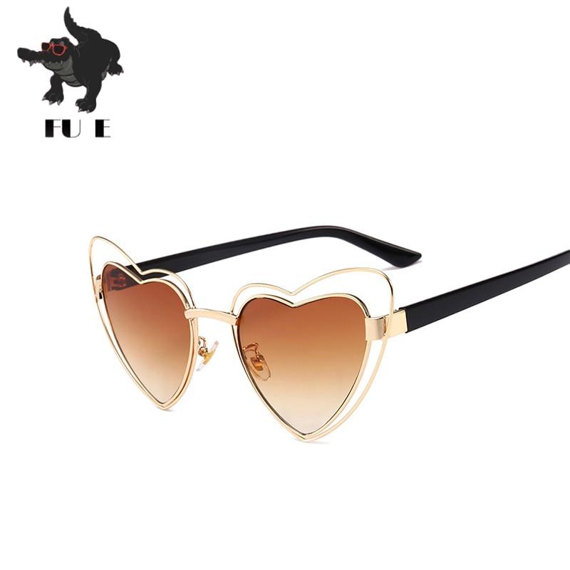 5cfb33f3391c24 FU E 2018 Nouvelle Mode Amour lunettes de Soleil Dames Marque Tendances Cat  Eye lunettes de Soleil Femme Lunettes UV400 lunettes de soleil KF208 5716