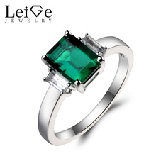 Leige Jewelry Wedding Ring Emerald Ring May Birthstone Emerald Cut Green Gemstone Solid 925 Sterling Silver Ring Gifts for Women