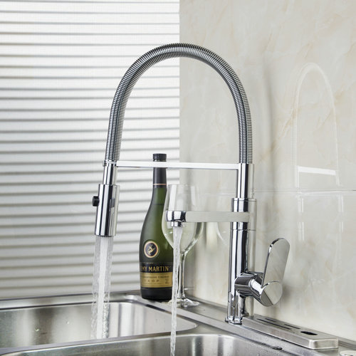 92646 Double Function Solid Brass Pull Out Spray Faucet Chrome Single Handle Deck Mount Kitchen Sink