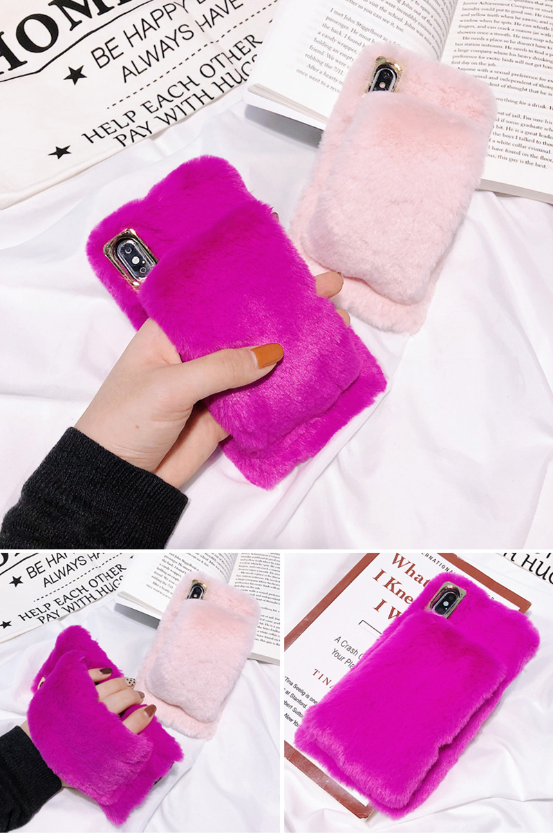KIPX1036_14_For iPhone 7 8 Hairy Warm Phone Cover for iPhone XS XR 5S SE 6S 7P 8 Plus Plush Hand Warmer Soft Case