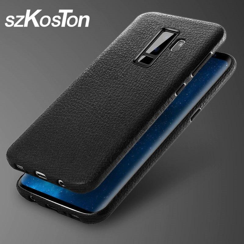 SZkoston тонкий кожаный чехол кожи для samsung Galaxy S8 S9 S8 плюс S9 плюс телефон задняя крышка случая протектор для samsung S8 S9