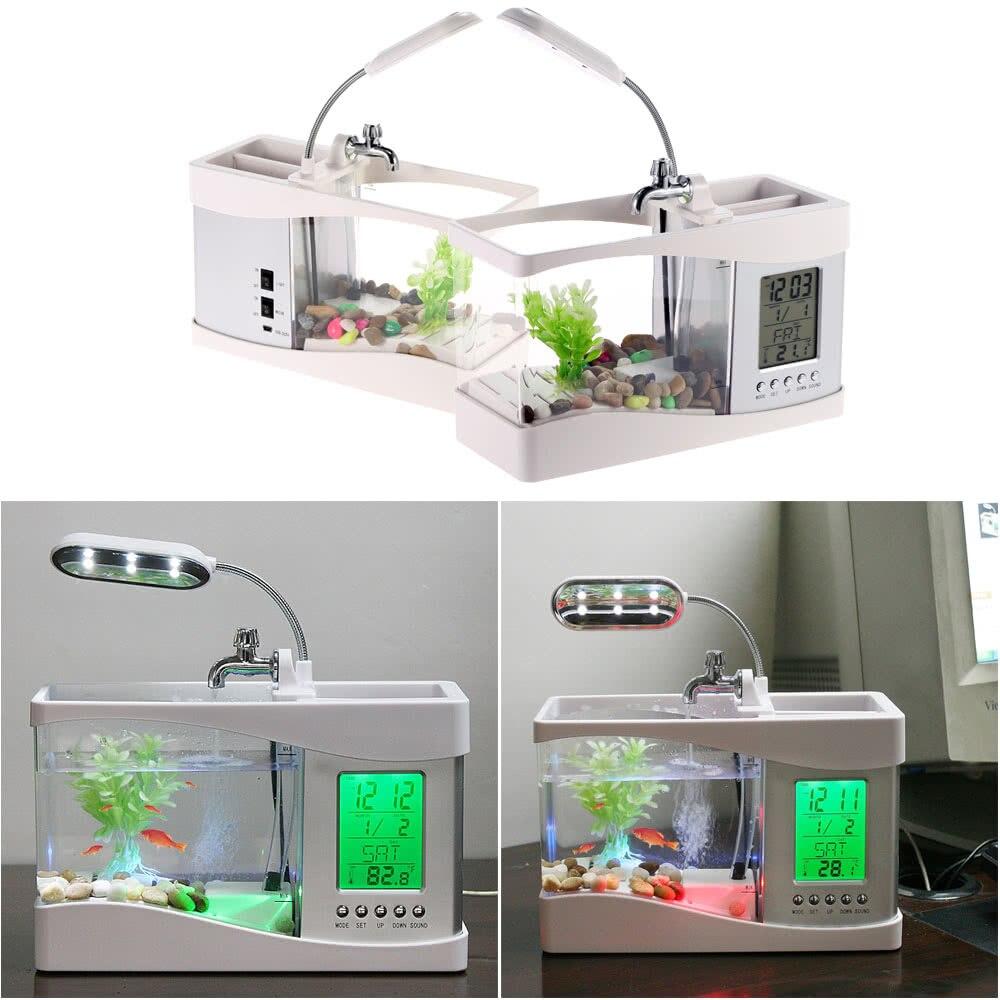 Populaire USB bureau Mini Aquarium aquarium verre LCD minuterie horloge lampe à LED lumière noir/blanc LED Aquarium aquarium - 6