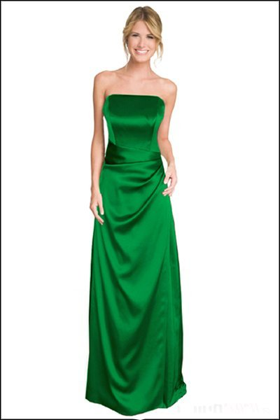 Strapless emerald green evening bridesmaid prom dress
