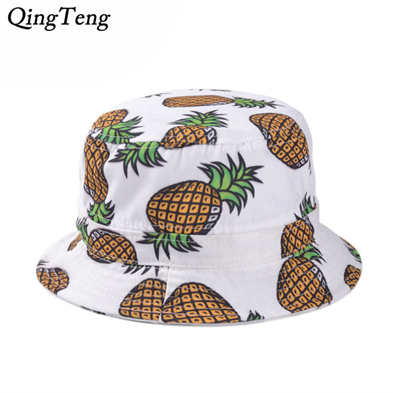 Pineapple Hat Bucket Hats Adults Panama City Women Hip Hop Bucket Hat Pineapple Cotton Outdoor Fishing Bonnie Cap 2018 Men Brand панамки с ананасом