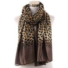 Winfox Vintage Female Animal Print Head Hijab Scarves Black Leopard Silk Scarf Women Shawl Foulard Ladies