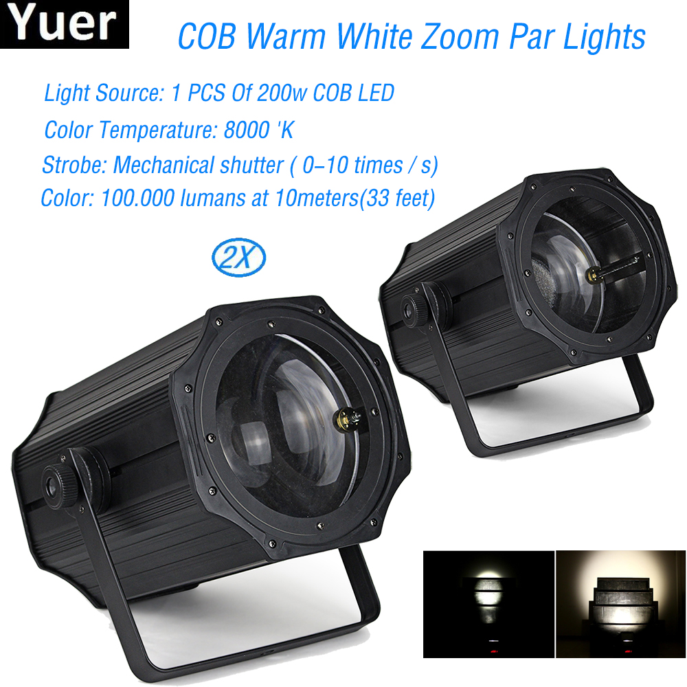 2Pcs/Lot 200W COB Warm White Zoom Par Light For Zooming Projector Wedding Disco DJ Stage Party Show Birthday Decoration2Pcs/Lot 200W COB Warm White Zoom Par Light For Zooming Projector Wedding Disco DJ Stage Party Show Birthday Decoration