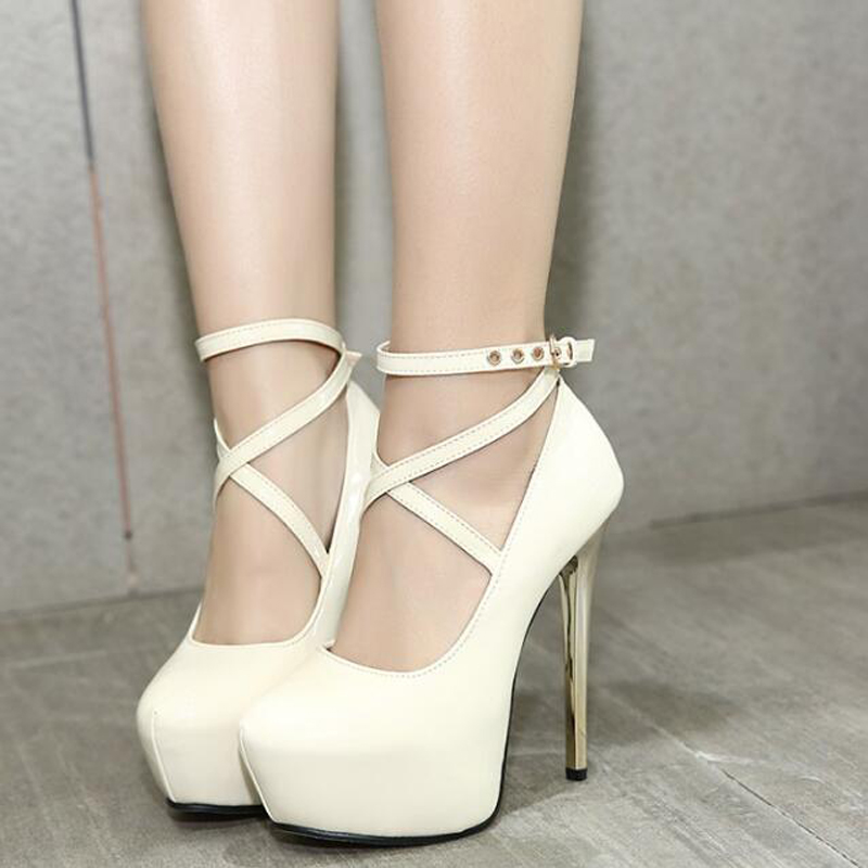 Dress Shoes Ankle Straps Heels Bridal High Pumps Womens Wedding White Stiletto Party D1046 In From