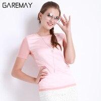 GAREMAY Shirts Women Summer Imitation Silk Blouses Short Sleeve Tops Female Chemise Femme Elegant Clothing For