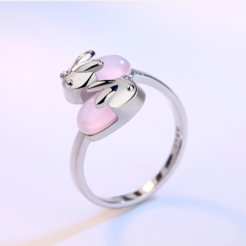 Exquisite Lovely Rabbit Animal Rings For Women Female Sieraden Cute Pink Opal Stone Finger Ring Anillos Mujer Silver 925 Jewelry