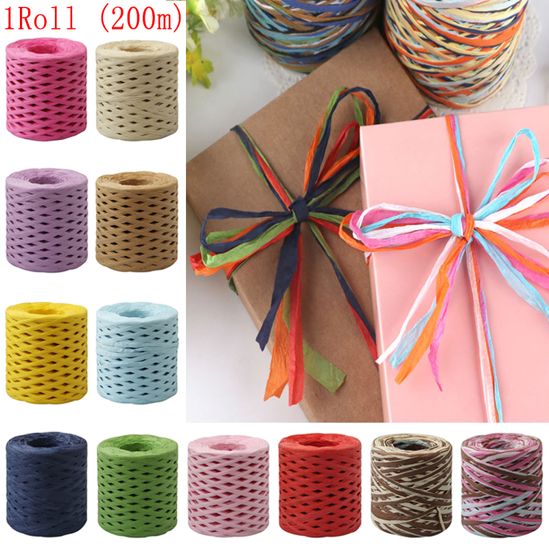 200M Paper Rope Raffia Ribbon Natural Lace Rope Gift Box Wrapping DIY Scrapbooking Crafts Wedding Birthday Party Decoration-in Party DIY Decorations from Home & Garden