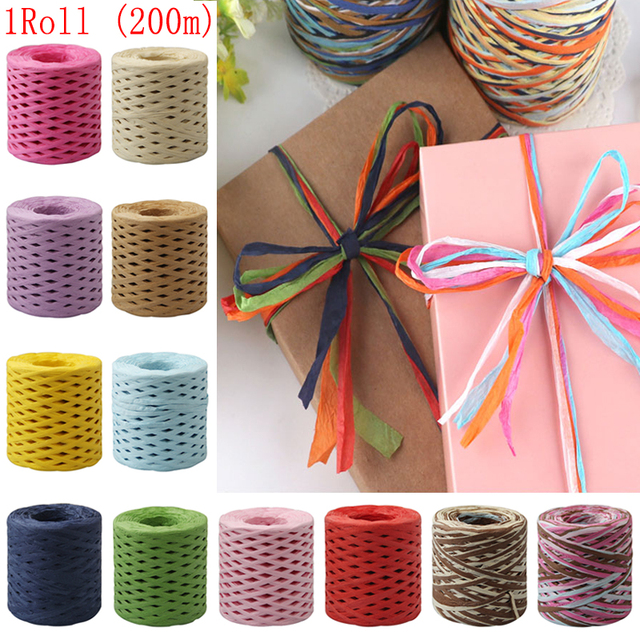 200M Paper Rope Raffia Ribbon Natural Lace Rope Gift Box Wrapping DIY Scrapbooking Crafts Wedding Birthday Party Decoration