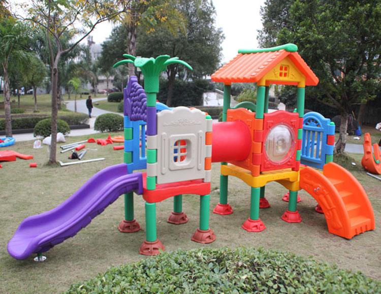 Children plastic outdoor slide amusement park equipment ...