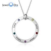 Персонализированные Семейные названия ожерелье с 5 камнем по месяцу рождения из нержавеющей стали Выгравированные ювелирные изделия кулон...
