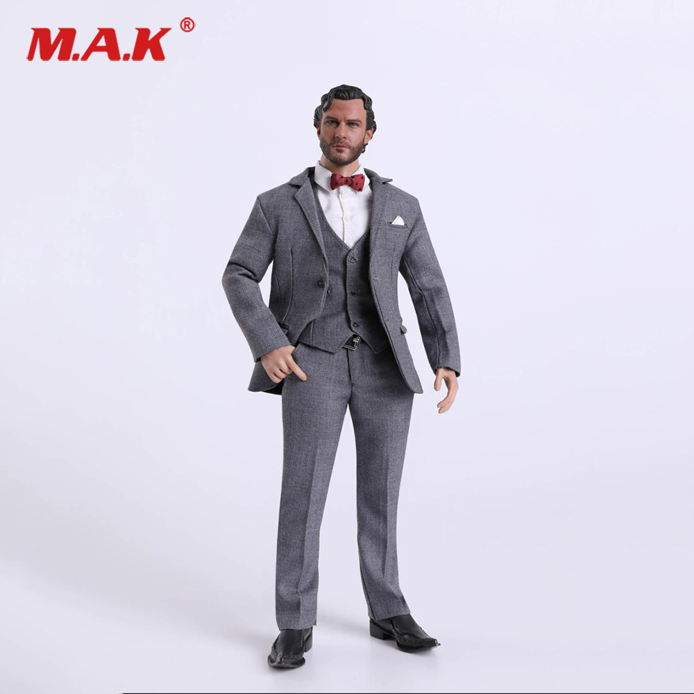 FC001 1/6 Scale Male Clothes Set Grey Gentleman Suit for 12 inches Man Action Figure Body Accessory 1 6 male clothes set military uniform wwii soviet army cossack cavalry clothes suit for 12 inches man action figure accessory
