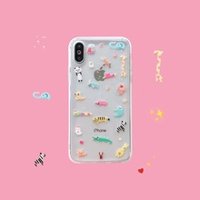 INS Vintage Cute Animal Glitter Zoo Phone case For iphone Xs MAX XR X soft TPU
