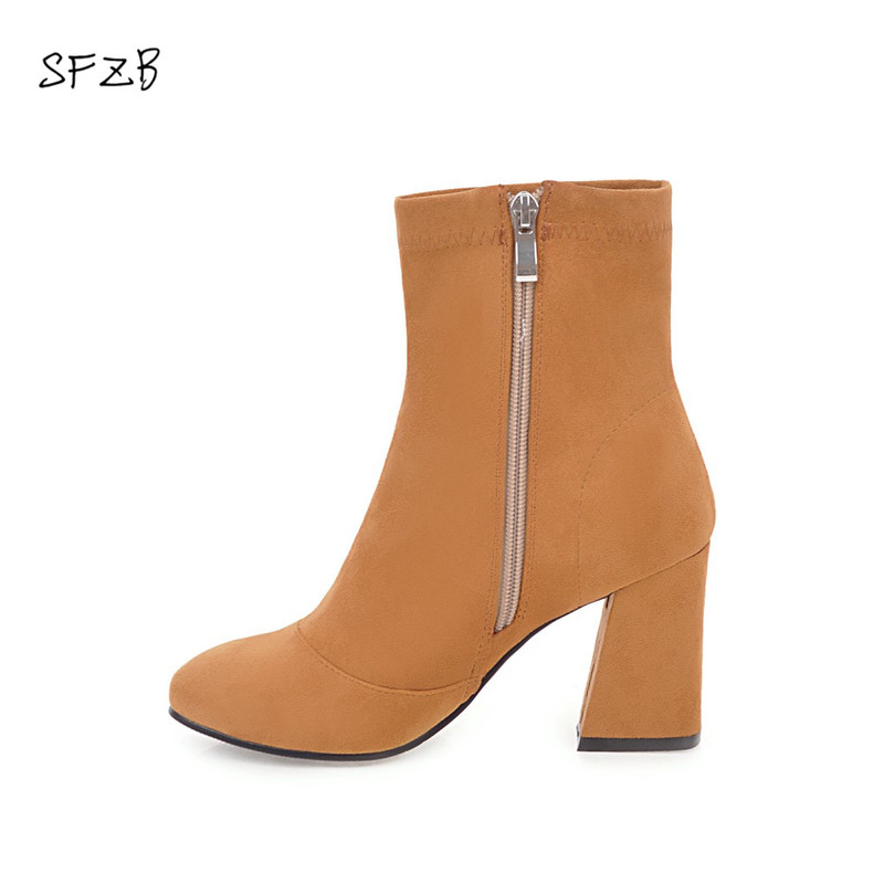 SFZB Women Shoes Ankle Boots Elastic band Stretch Fabric Hoof High Heel Fashion Women Party Shoes Black Warm Size 10 11