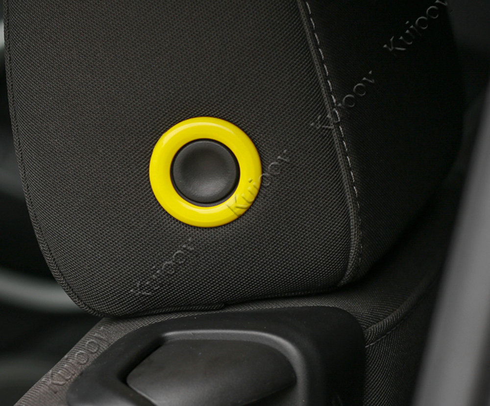 ABS Yellow Seat Back Headrest Adjust Circle Ring Trim For Chevrolet Camaro 2017