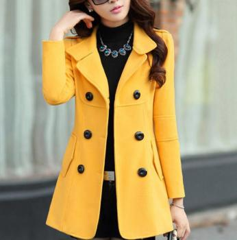 2019 fashion coat Slim double-breasted solid color wool jacket women's spring large size windproof woolen Blends outerwear parka