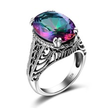 Fashion Jewelry Wedding Rings For Women Vintage Style 3ct Mystic Rainbow Crystal Soild 925 Sterling Silver Ring Cheap Good