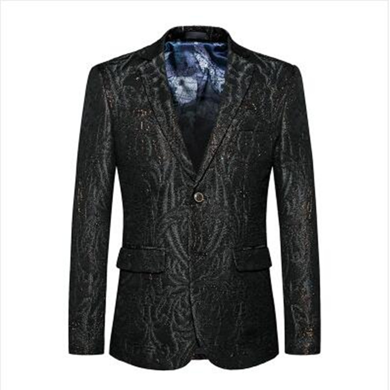 2018 Fashion Printed Men Casual Blazer Slim Fit Male Blazer Jacket Brand M- 5XL Hip Hop Stage Costumes For Singers AR888