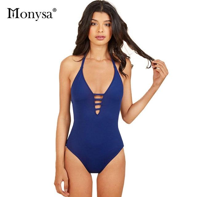 8b8b147c257 Monysa Bandage One Piece Swimsuit Women Swimwear 2018 Summer Sexy Beach  Wear Monokini Swimsuit Polyester Black Blue Bathing Suit