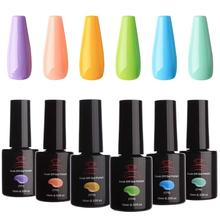 Makartt UV Gel Nail Polish Set Macaron Colors LED Kit 6 Bottles Soak Off Summer 10 ml with Gift Box P-17