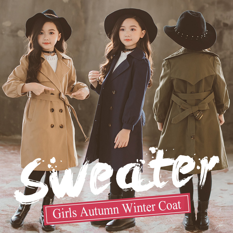 Girls Trench Coat Mom Daughter Family Matching Clothes Autumn Kids Jacket for Girls Windbreaker Coat Outerwear Children Clothing 2017 summer children clothing mother and daughter clothes xl xxl lady women infant kids mom girls family matching casual pajamas