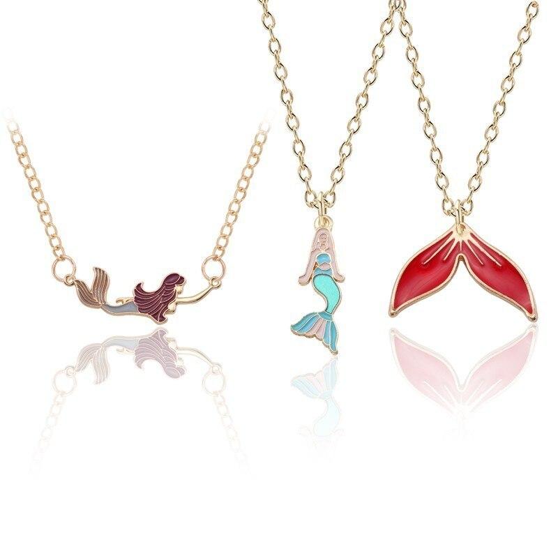 10Pcs Bohemian Beach Mermaid Fish Tail Enamel Pendant Neckalce Charm Jewelry