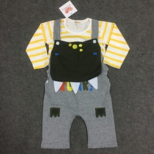 24M Baby Clothes set Newborn Boys Cute Cartoon Underwear Striped T Shirt and Pants Animal Embroidery