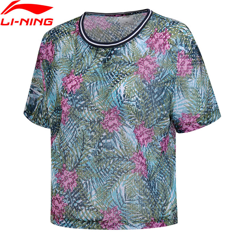 Li-Ning Women Outdoor Surfing T-Shirt Loose Fit Oversize 100% Polyester LiNing Li Ning Breathable Sport Tee Tops AHSN142 WTS1408
