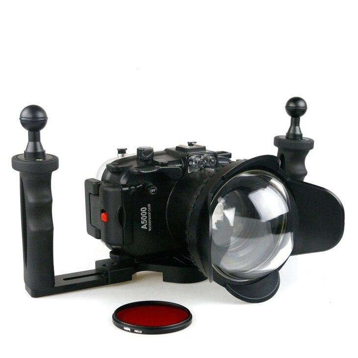 Boîtier sous-marin étanche de 40 m (130ft) pour appareil photo reflex numérique Sony A5000 67mm Fishey