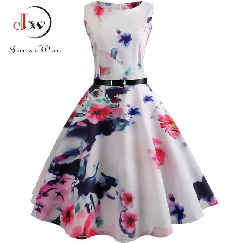 Floral Print Summer Dress Women  Vintage Elegant Swing Rockabilly Party Dresses Plus Size Casual Midi Tunic Runway Dress 5
