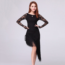 Retail Latin Dance Dress Tassel Elegant Sexy Women Tango Ballroom Salsa Stage Dance Costumes Lace Patchwork Dancewear